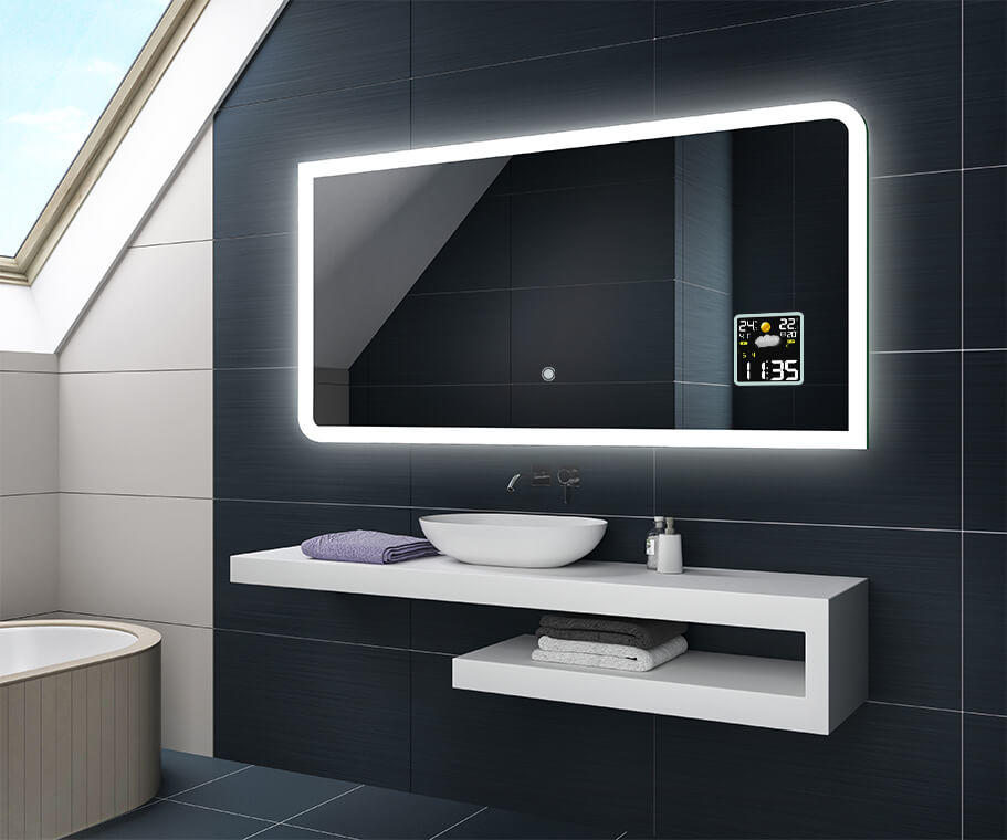 illumination led miroir sur mesure eclairage salle de bain. Black Bedroom Furniture Sets. Home Design Ideas